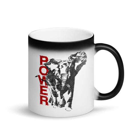 Elephant Power Matte Black Magic Mug