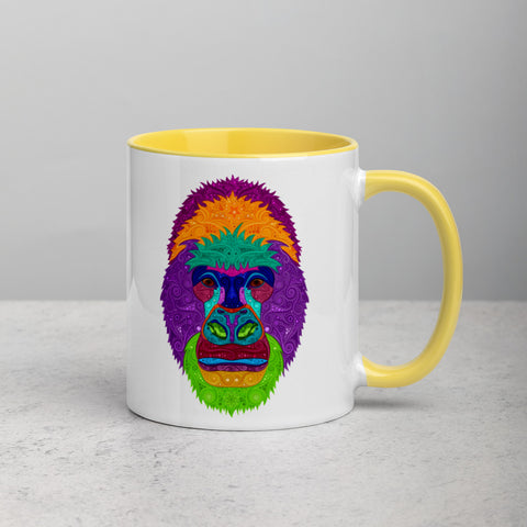 Colorful Gorilla Mug with Color Inside