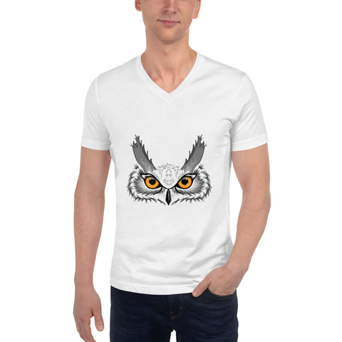 Owl Head Unisex Short Sleeve V-Neck T-Shirt