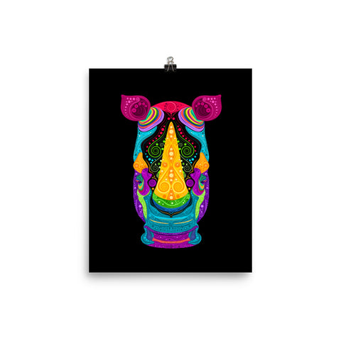 Colorful Rhino Poster on Black