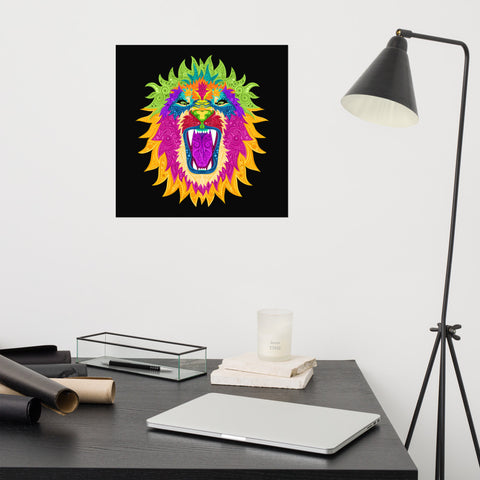 Colorful Lion Photo paper poster