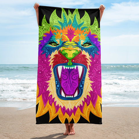 Colorful Lion Design Towel