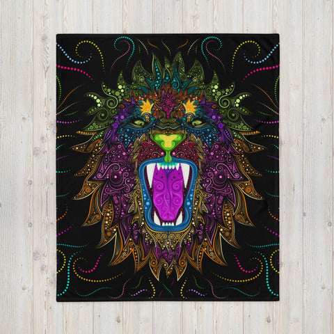 Colorful Lion Throw Blanket