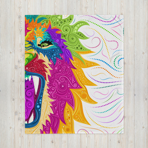 Colorful Lion on White Throw Blanket