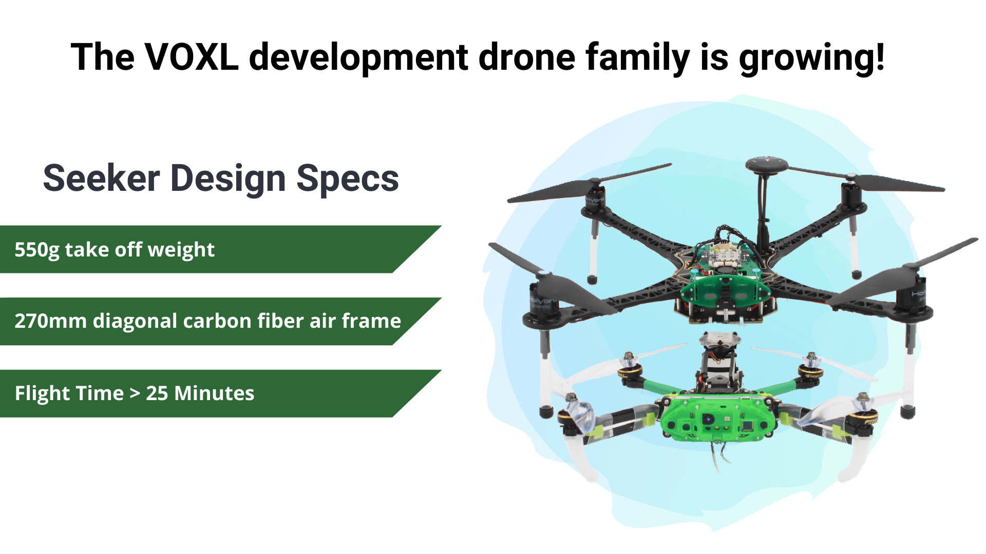 The VOXL development drone family is growing! Seeker design specs - 550g take off weight - 270mm diagonal carbon fiber air frame - Flight time > 25 minutes