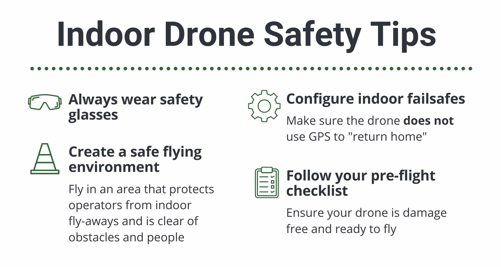 """Indoor Drone Safety Tips. Always wear safety glasses, create a safe flying environment fly in an area that protects operators from indoor fly-aways and is clear of obstacles and people. Configure indoor failsafes, make sure the drone does not use GPS to """"return home"""". follow your pre-flight checklist, ensure your drone is damage free and ready to fly."""