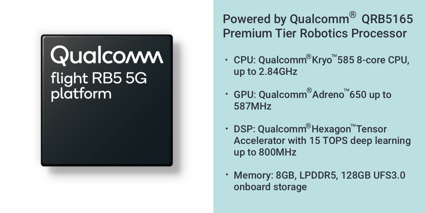 Powered by the Qualcomm RB5165 Premium Tier Robotics Processor CPU: Qualcomm Kryo 586 8-core CPU, up to 2.84GHz, GPU: Qualcomm Adreno 650 up to 587Mhz DSP: Qualcomm Hexagon Tensor Accelerator with 15 TOPS deep learning up to 800MHz Memory: 8GB, LPDDR5, 128GB UFS3.0 onboard storage