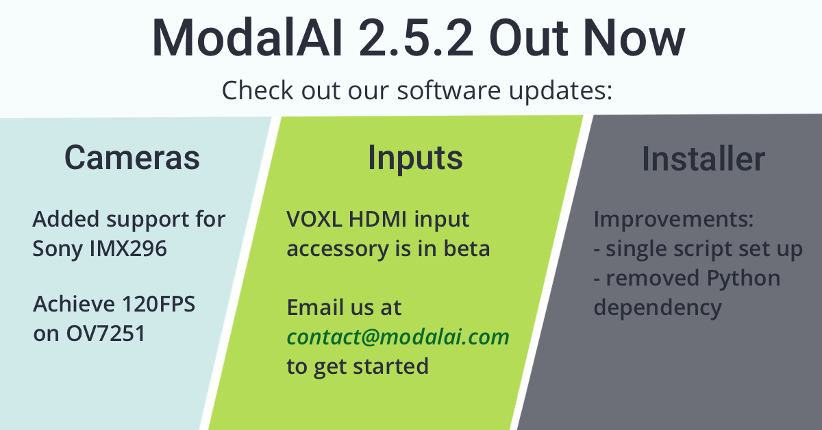 ModalAI 2.5.2 Out Now Check out new software updates: Cameras, inputs, installer