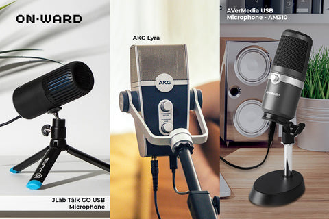 Best microphones for content creation- Avermedia-Jlab- AKG Lyra