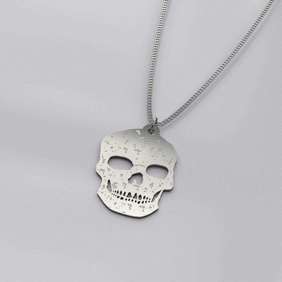 """Decay"" 925 Sterling Silver Skull Pendant Necklace - Ordyh.com"