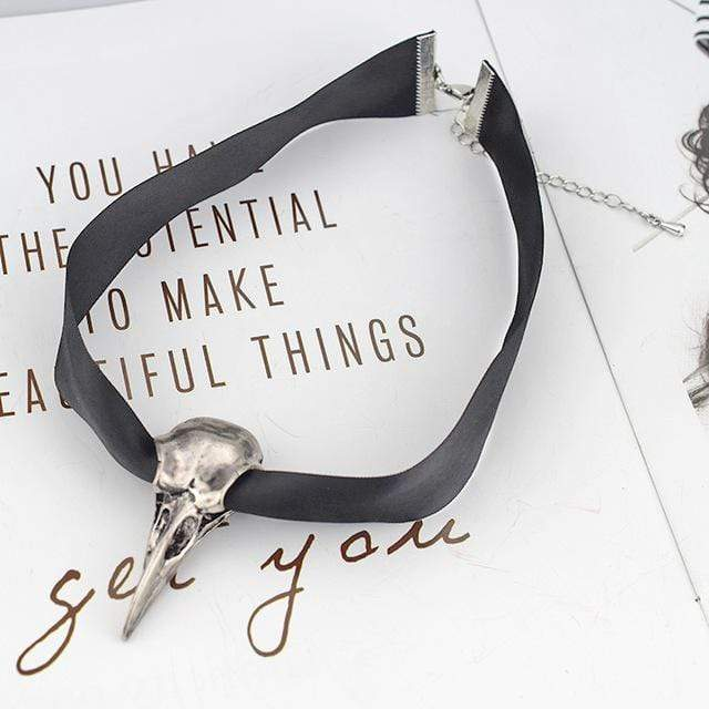 """Nevermore"" Raven Skull Ribbon Choker Plus ""Justice"" Sticker - Ordyh.com"