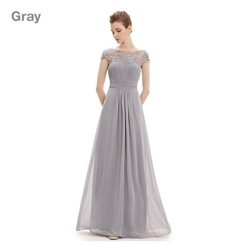 Floral Elegant Short-sleeve Long Lace Evening Dress - onekfashion