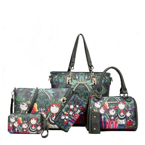 Green Forest British-branded Six-Piece Bags - onekfashion