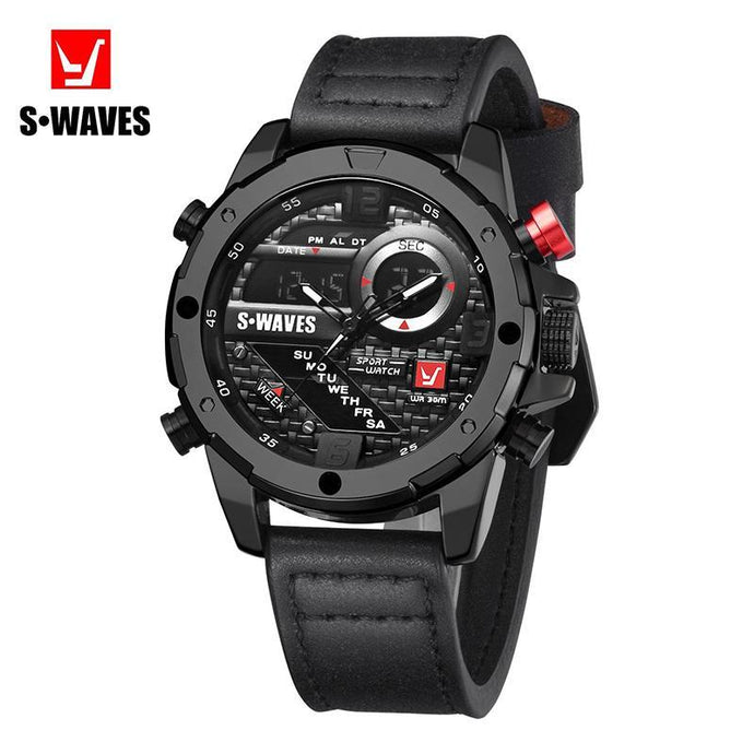 S-WAVES Double display screen quartz watch - onekfashion