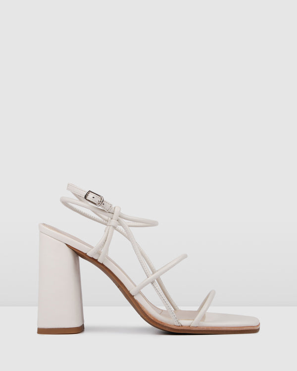 ADDISON HIGH HEEL SANDALS BONE LEATHER