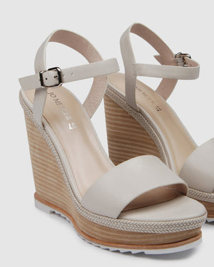 ADELE HIGH HEEL WEDGES BONE LEATHER