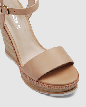 ADELE HIGH HEEL WEDGES NATURAL LEATHER