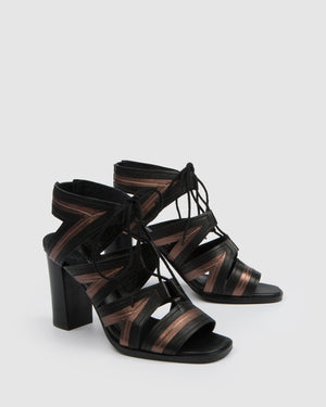 ADELINE HIGH SANDALS BLACK LEATHER