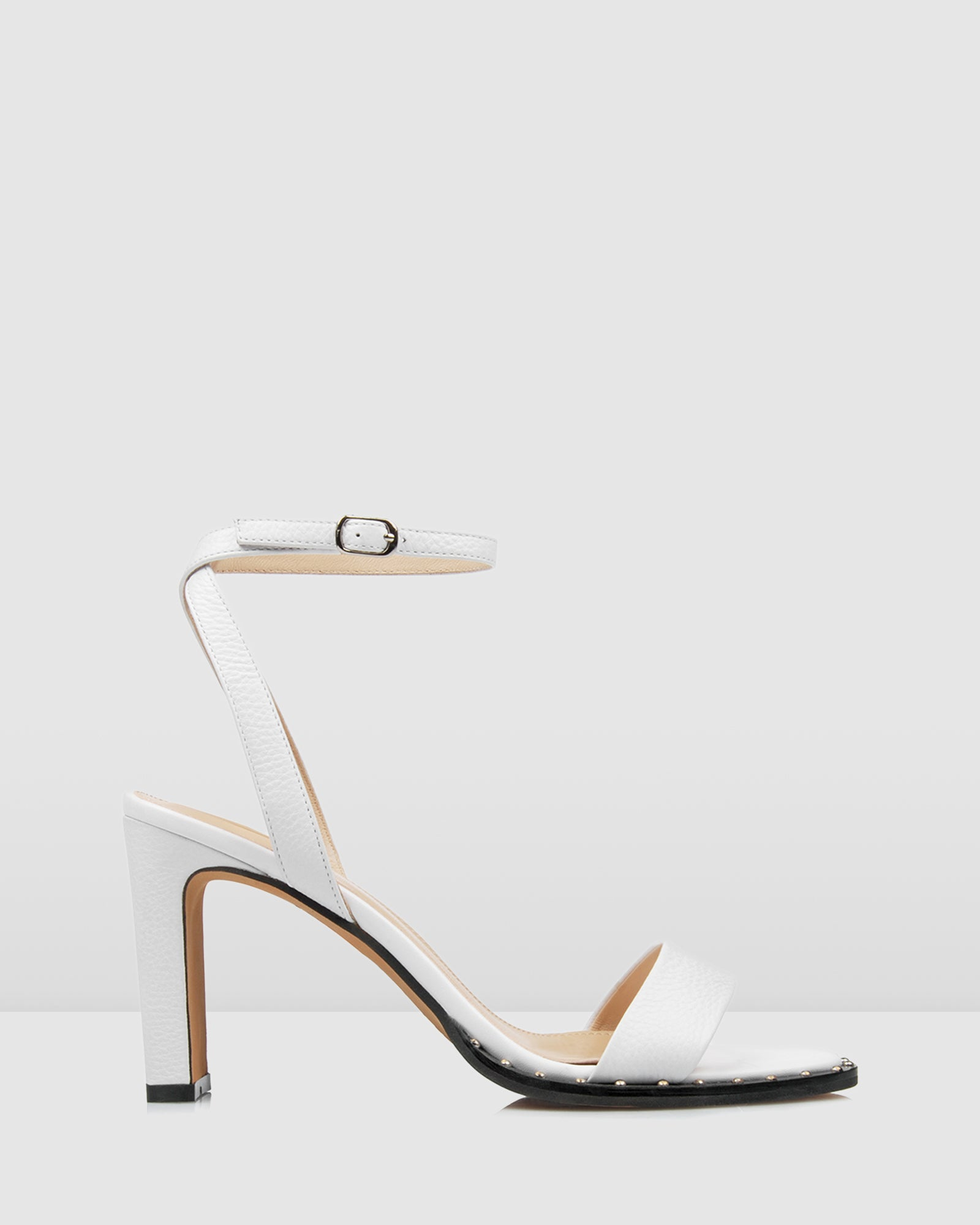 AKIRA HIGH HEEL SANDALS WHITE LEATHER
