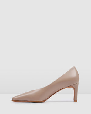 ALEXANDRA MID HEELS BEIGE LEATHER