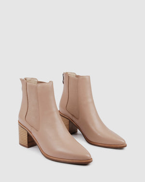 ALLURE MID ANKLE BOOTS BEIGE LEATHER