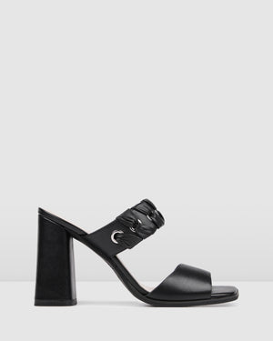 AMELIA HIGH HEEL SANDALS BLACK LEATHER