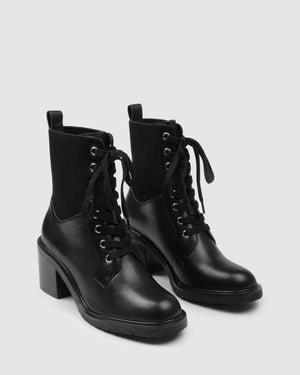 ANNIKA MID ANKLE BOOTS BLACK LEATHER