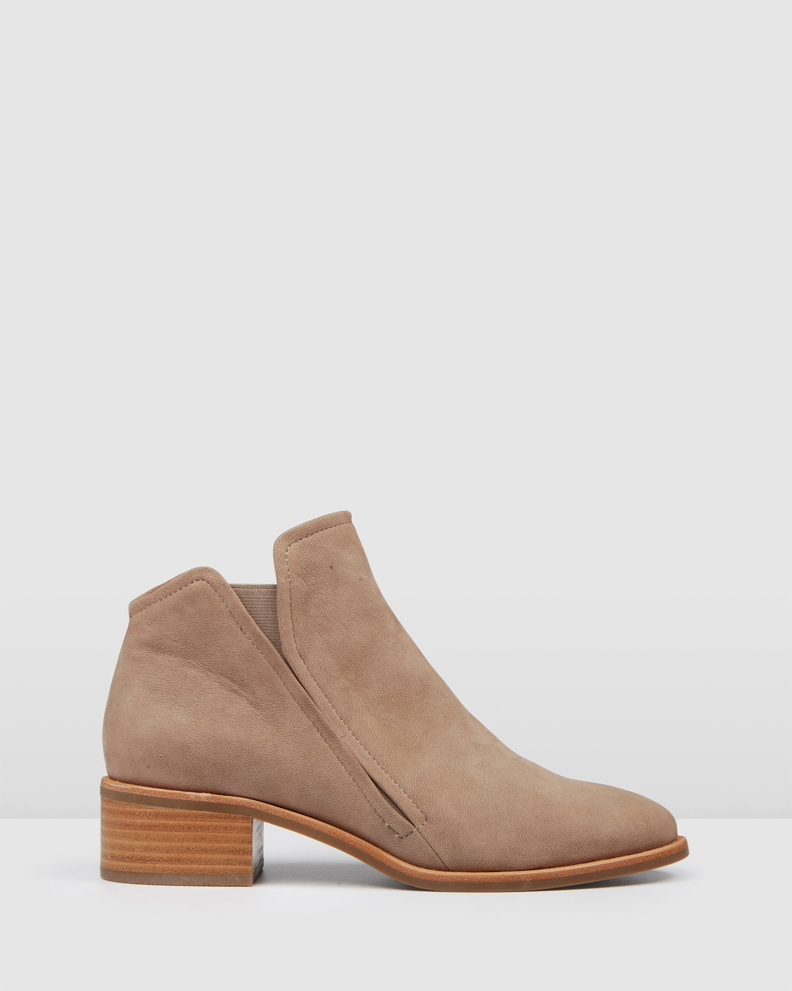 ASPEN FLAT ANKLE BOOTS TAUPE NUBUCK