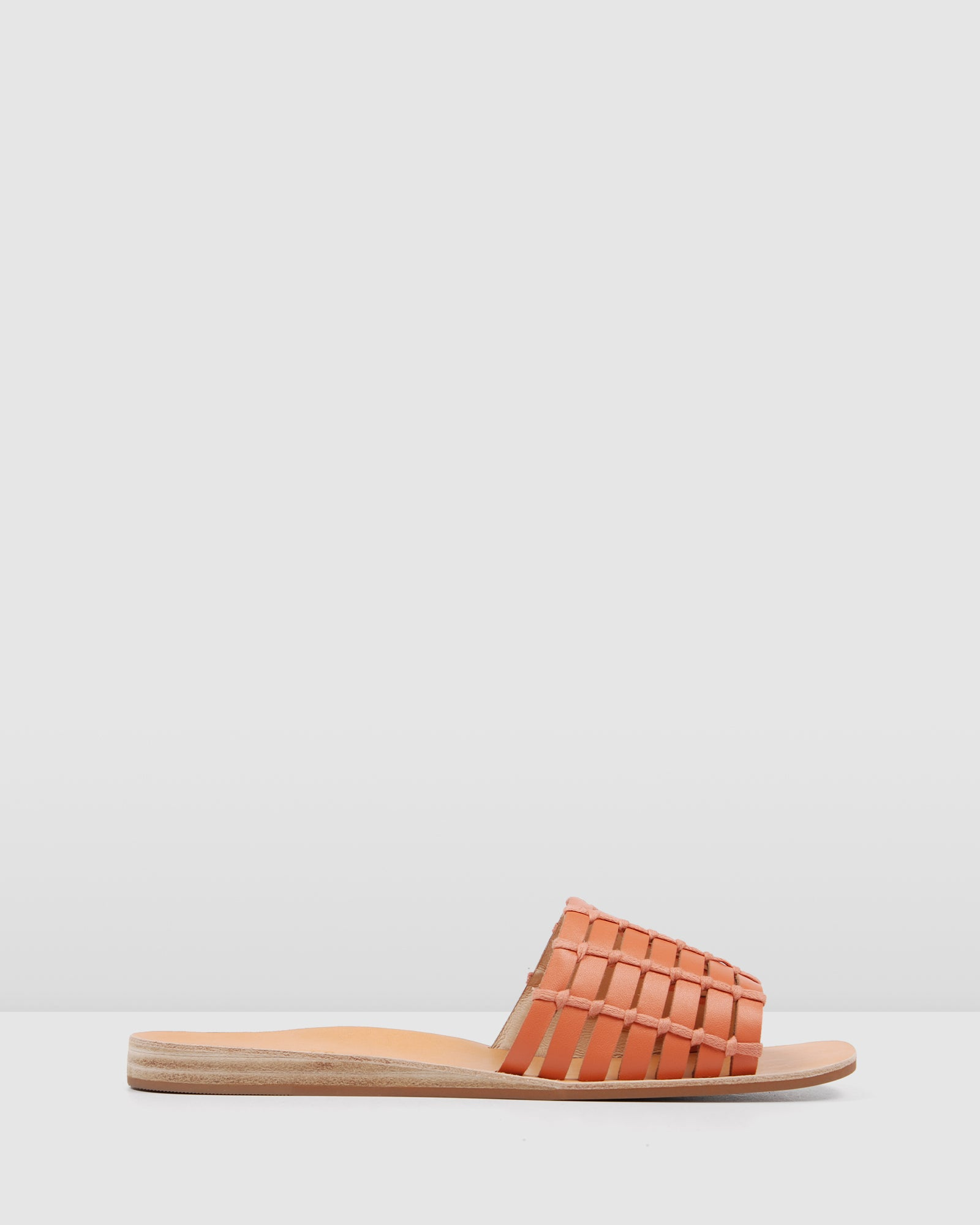 Details about NEW Jo Mercer Ava Flat Wedge Slides Coral Leather Sandals