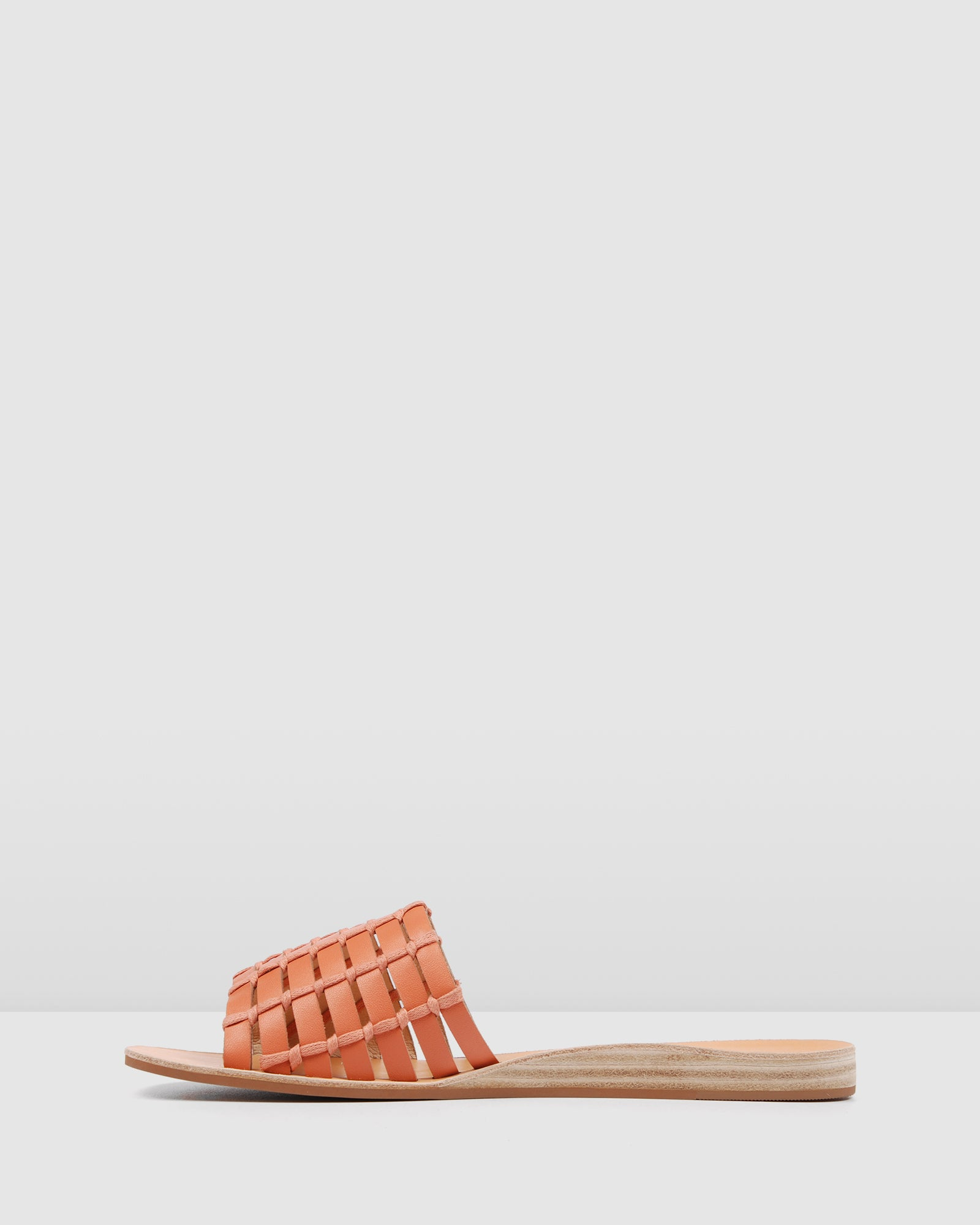 AVA FLAT WEDGE SLIDES CORAL LEATHER