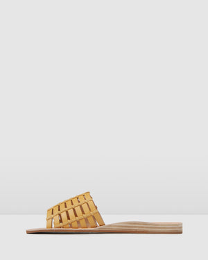 AVA FLAT WEDGE SLIDES MUSTARD LEATHER