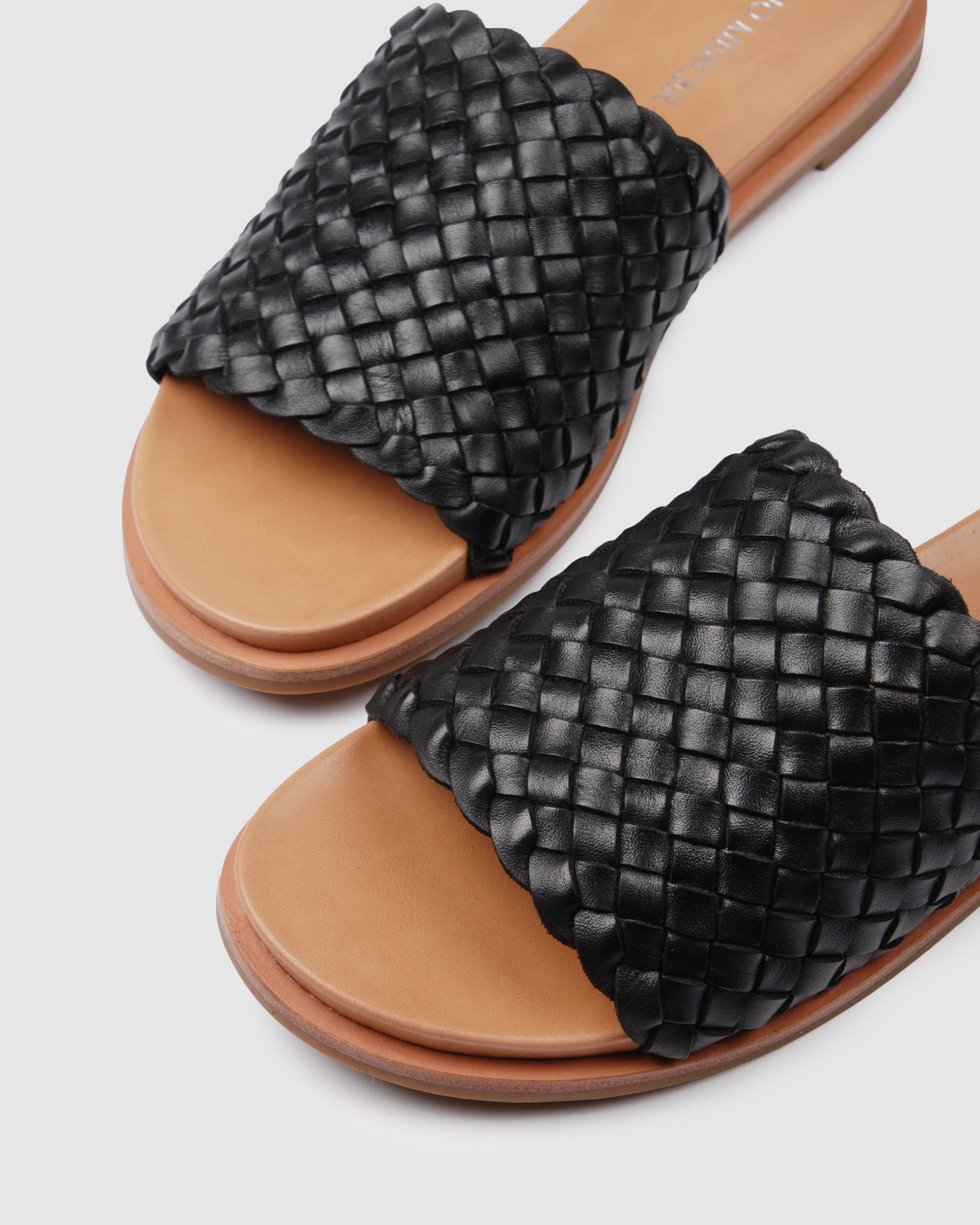 BEAU FLAT SANDALS BLACK LEATHER