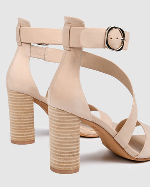 BECKETT HIGH HEEL SANDALS NATURAL LEATHER