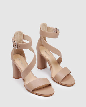 BECKETT HIGH HEEL SANDALS BEIGE LEATHER