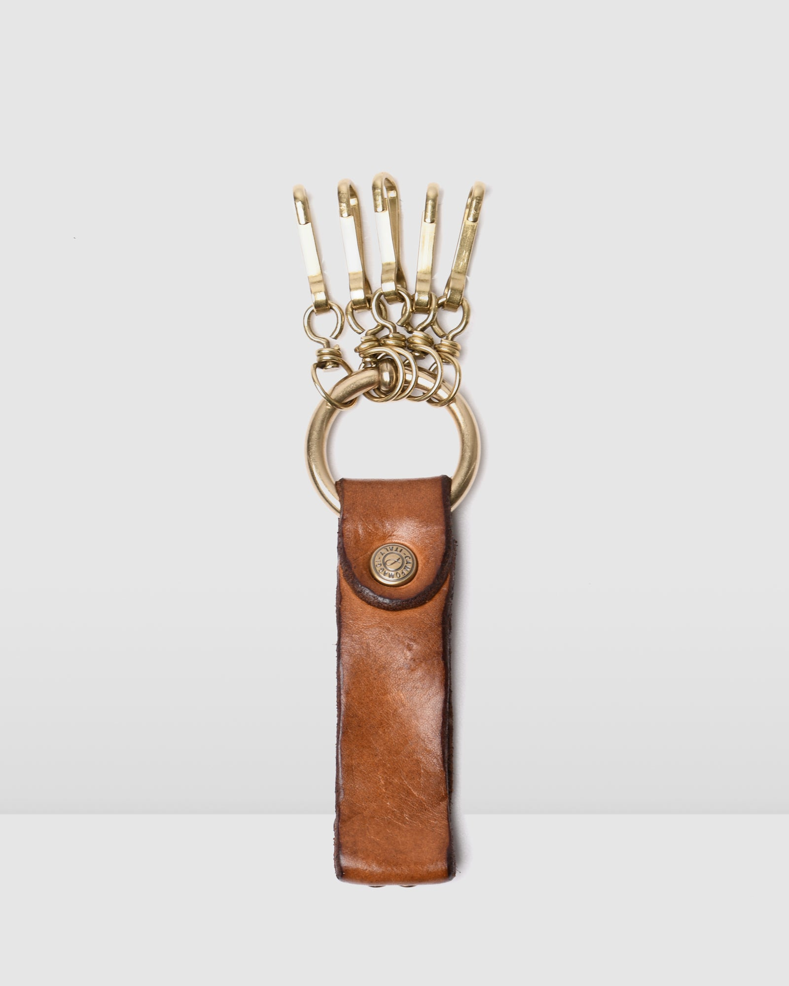 CAMPOMAGGI BELLA DI NOTTE KEYRING COGNAC LEATHER
