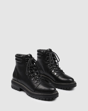 BENTLEY LOW ANKLE BOOTS BLACK LEATHER