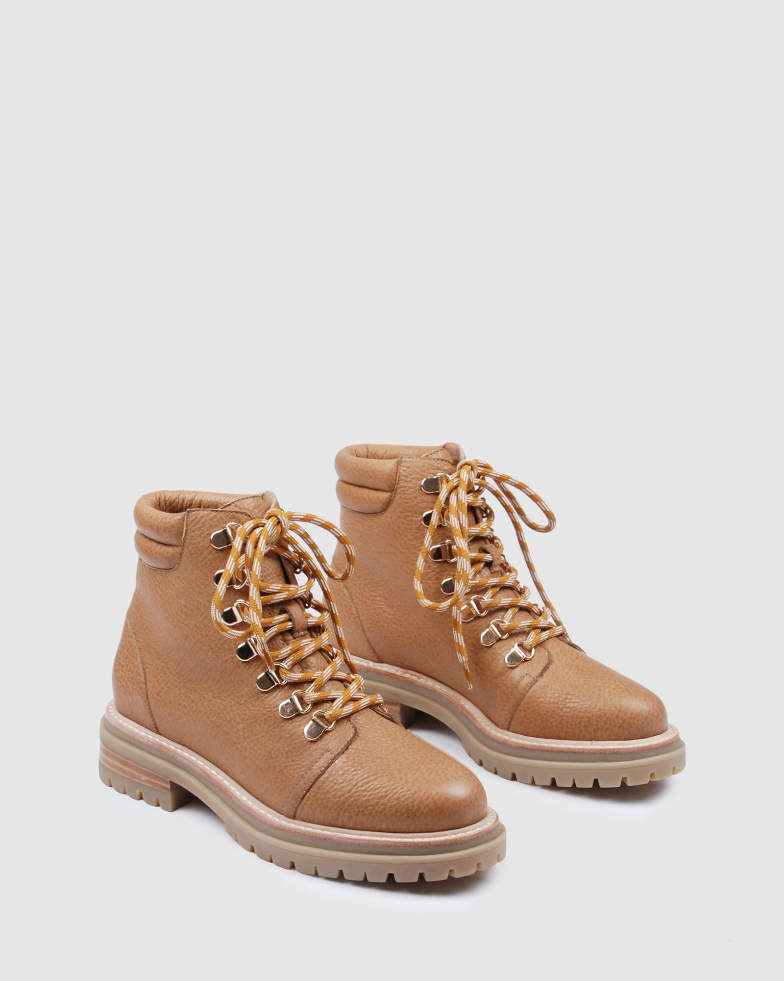 tan leather lace up ankle boots