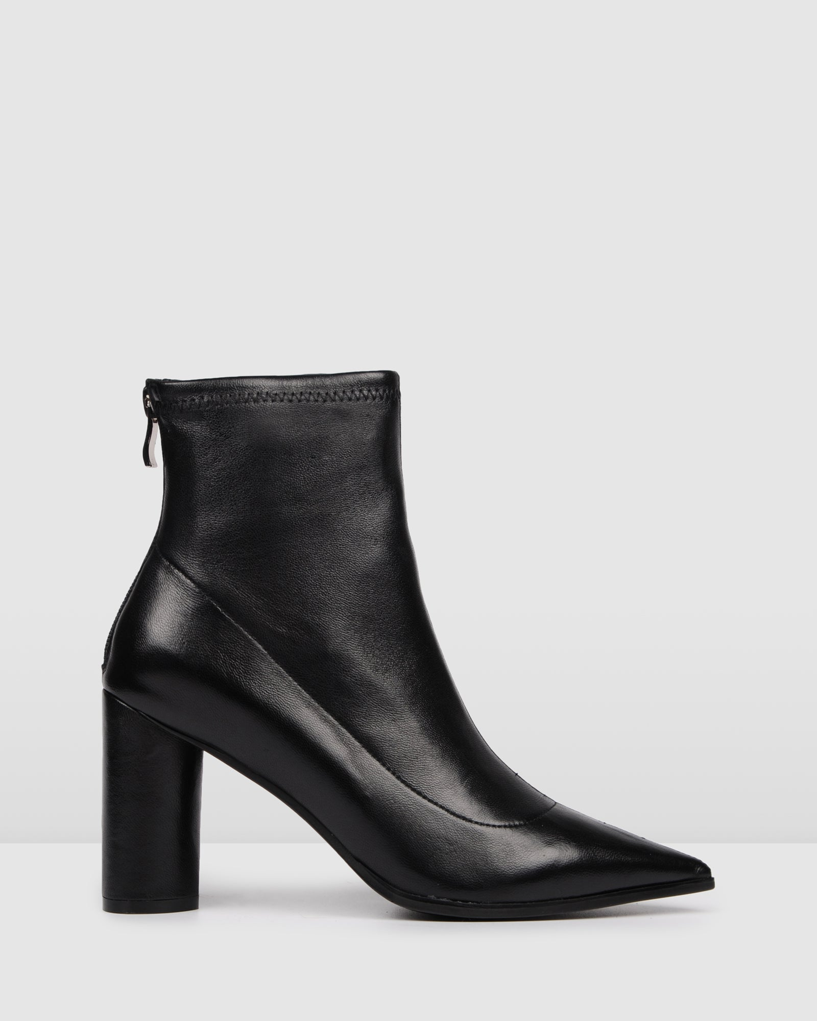BETTINA HIGH ANKLE BOOTS BLACK LEATHER