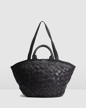 BIBA LEWISBURG TOTE BAG BLACK LEATHER