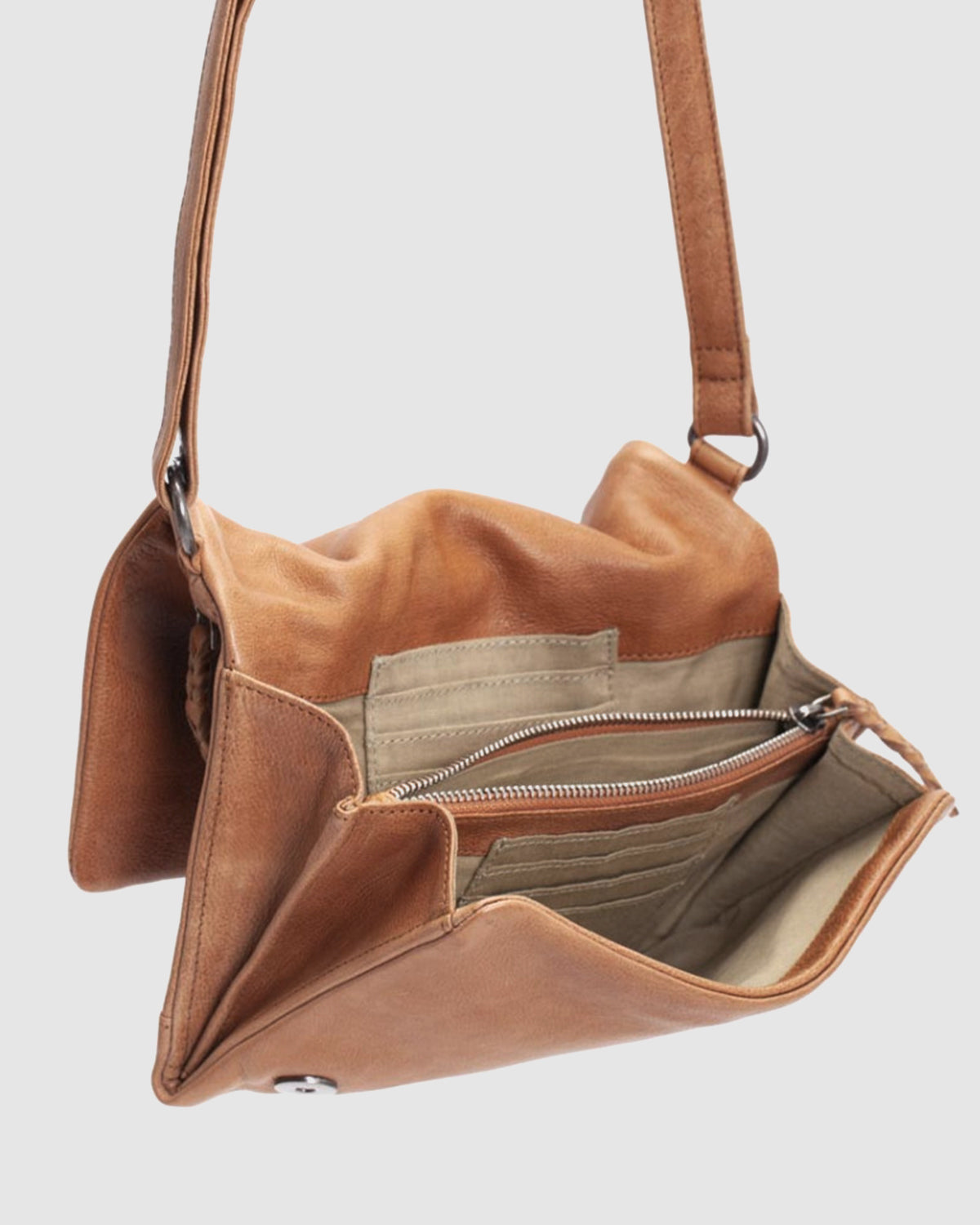 BIBA NASHVILLE ROCK CROSS BODY BAG TAN LEATHER
