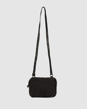 BIBA BOSTON MULTI ZIP CROSS BODY BAG BLACK LEATHER