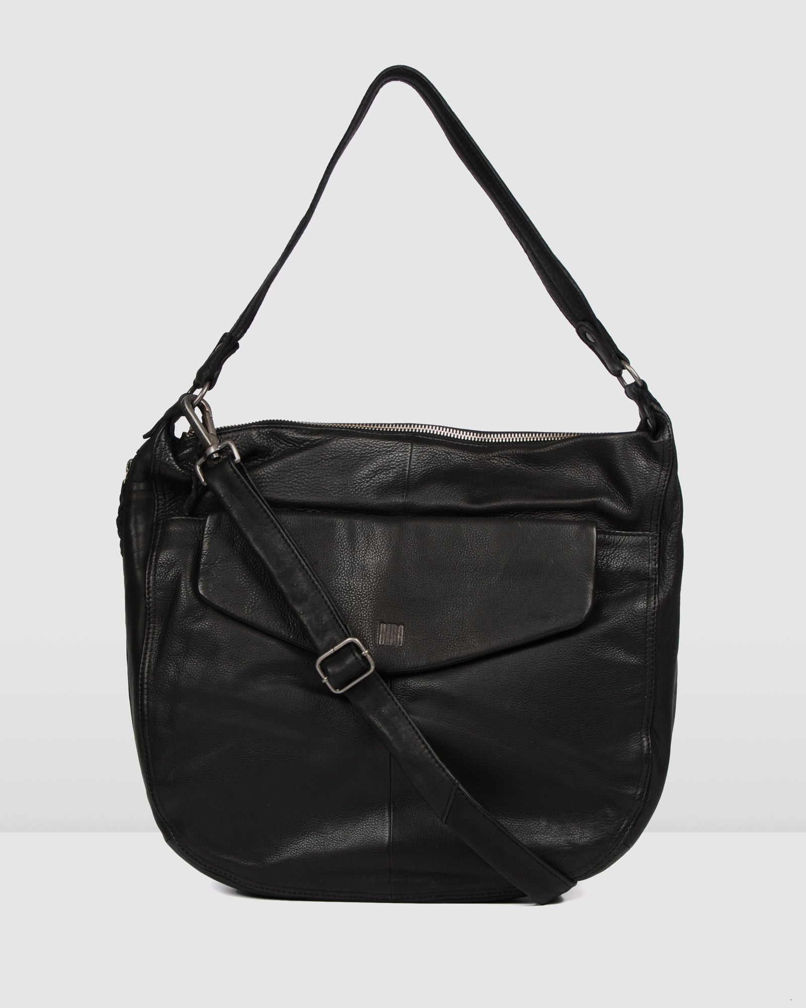 BIBA JERSEY SUMMER SHOULDER BAG BLACK LEATHER