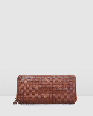BIBA KANSAS FULL WOVEN WALLET TAN LEATHER