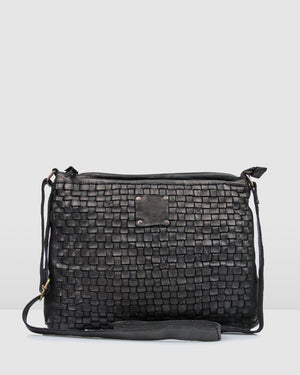BIBA KANSAS MEDIUM CROSS BODY BAG BLACK LEATHER