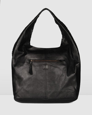 BIBA NIWOT SHOULDER BAG BLACK LEATHER