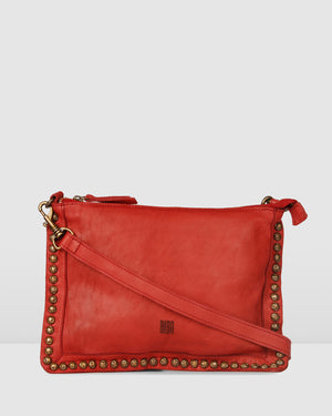 BIBA PORTLAND CROSS BODY BAG RED LEATHER
