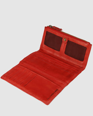 BIBA PORTLAND WALLET RED LEATHER