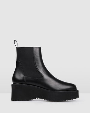BIJOU MID ANKLE BOOTS BLACK LEATHER