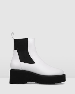 BIJOU MID ANKLE BOOTS WHITE LEATHER