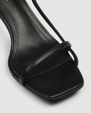BIRDY MID HEEL SANDALS BLACK LEATHER